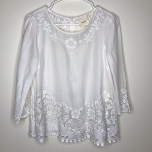 Anthropologie Maeve lace trim embroider white top